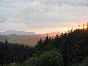 Sunset over Cynwyd Forest and Arenig Fawr
