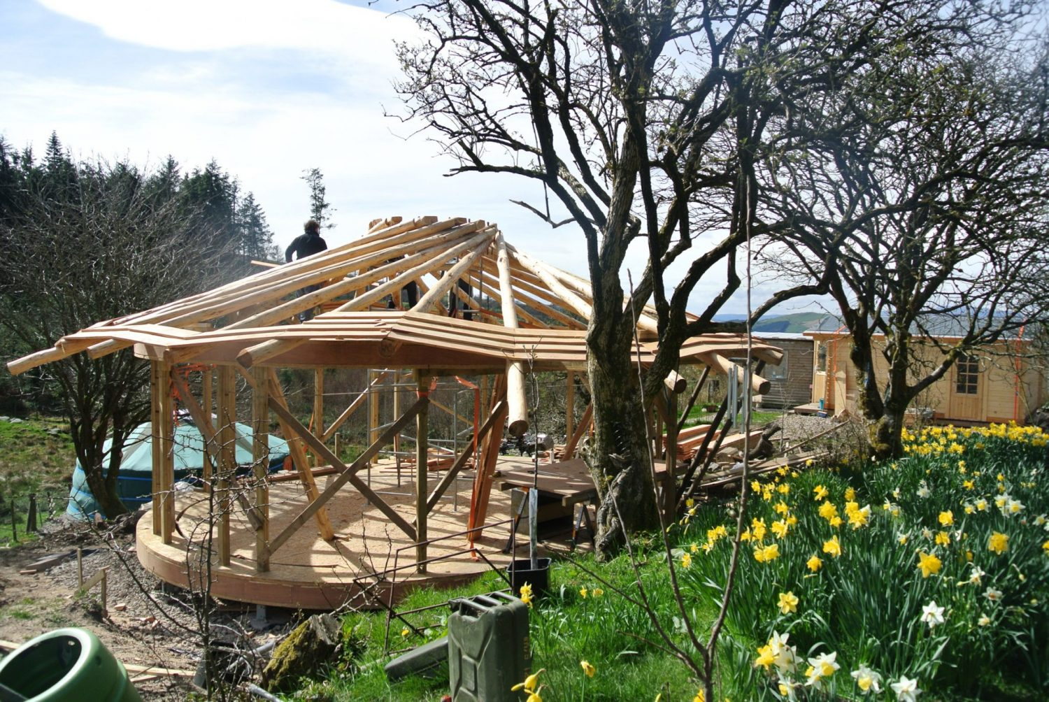 The roof frame is now complete and the sarking boards are going on - beautiful April day in North Wales!