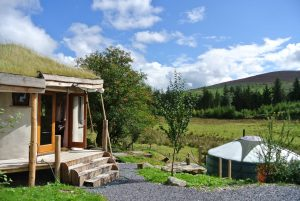 Nearly finished....The roundhouse and Ty Crwn Mawr at the intimate off grid eco retreat centre Ty Mam Mawr
