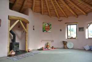 Happy space! Ty Mam Mawr eco retreat centre straw bale roundhouse