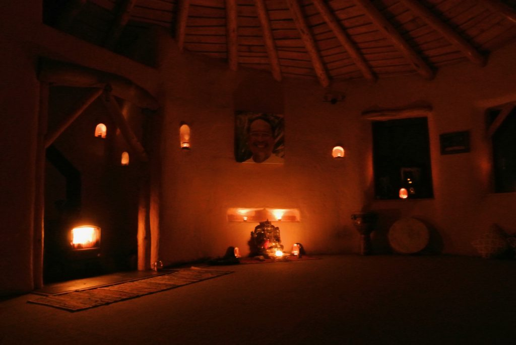 Night time in the roundhouse by candlelight and a toasty fire