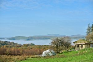 Ty Mam Mawr - Roundhouse and Yurt looking to West - Autumn