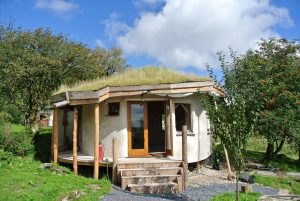 The straw bale roundhouse just before her paint job